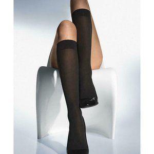 NEW Wolford Velvet de Luxe 50 knee highs Black